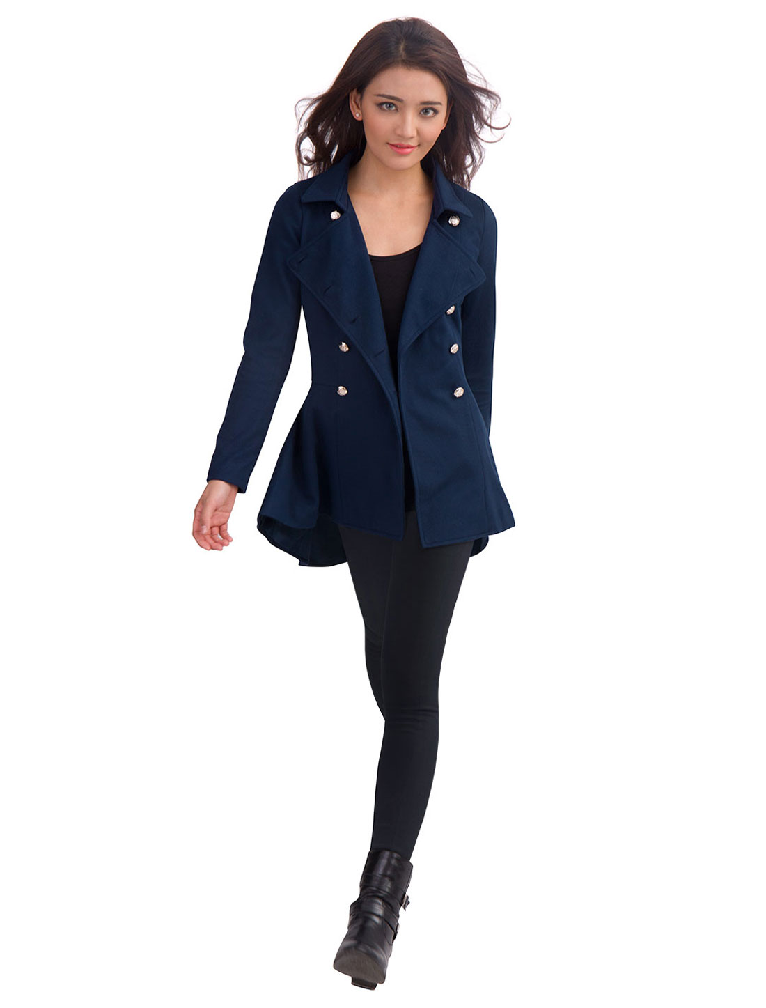 Ladies Turn Down Collar Double Breasted Long Sleeve Spring Overcoat Dark Blue S