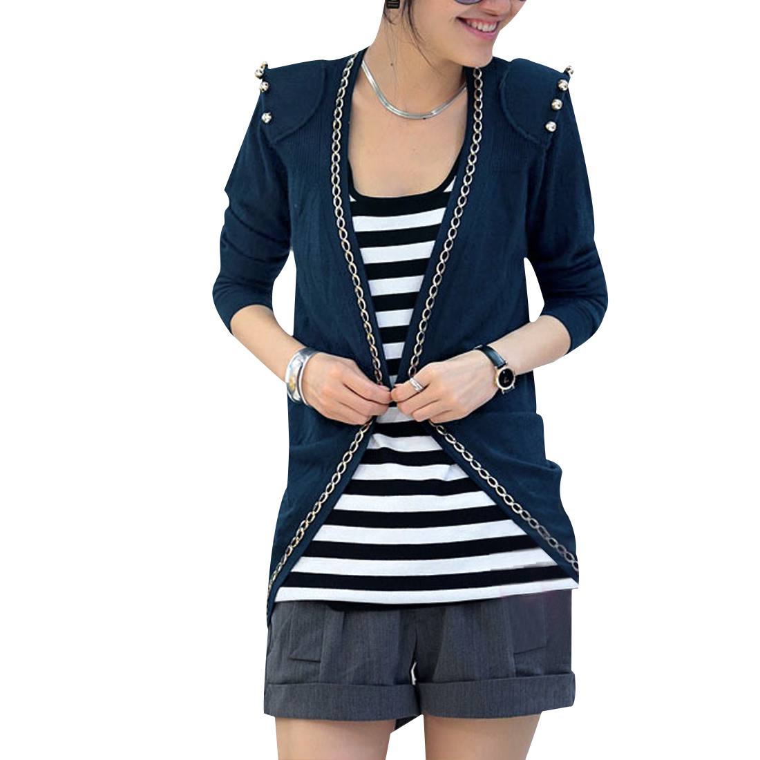 Lady Steel Blue Front Opening Long Sleeve Chain Decor Padded Shoulder Blazer XS