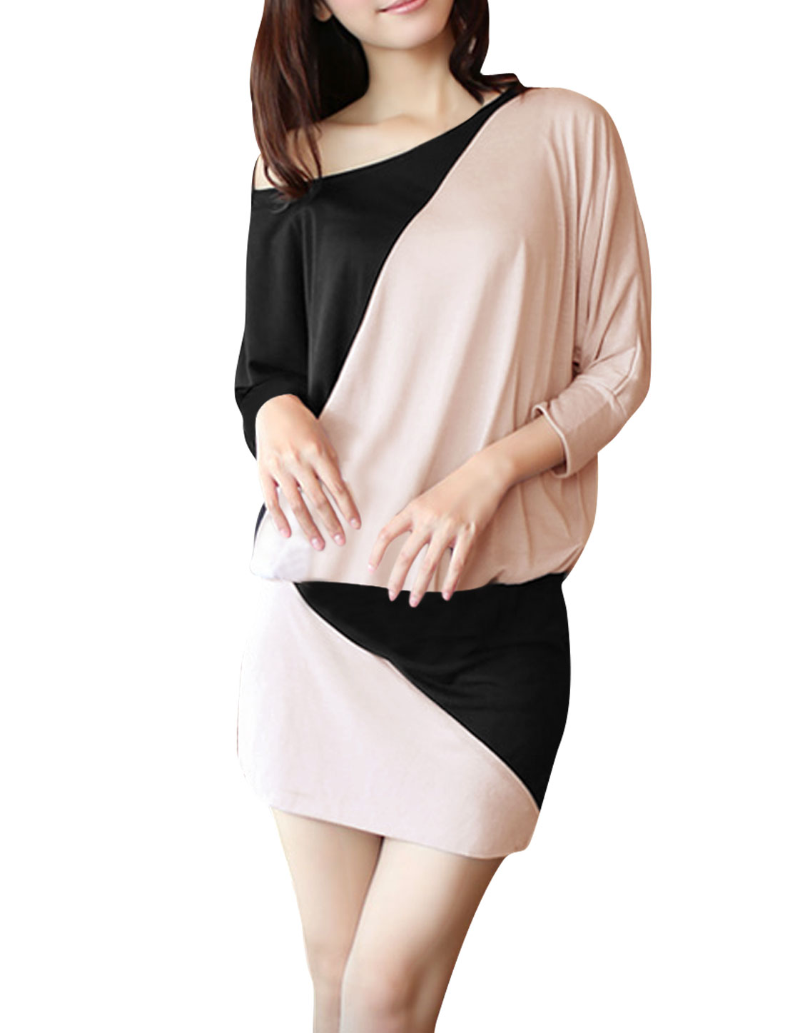 Ladies Scoop Neck Capri Batwing Sleeve Elastic Waist Pink Jumper Dress XS