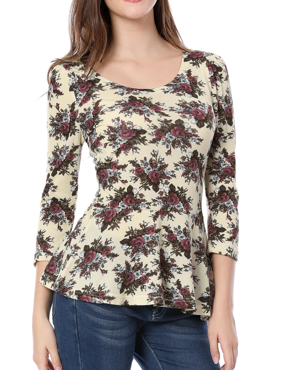 Women 3/4 Sleeve Scoop Neck Slim Fitting Flower Pattern Beige Shirt XS