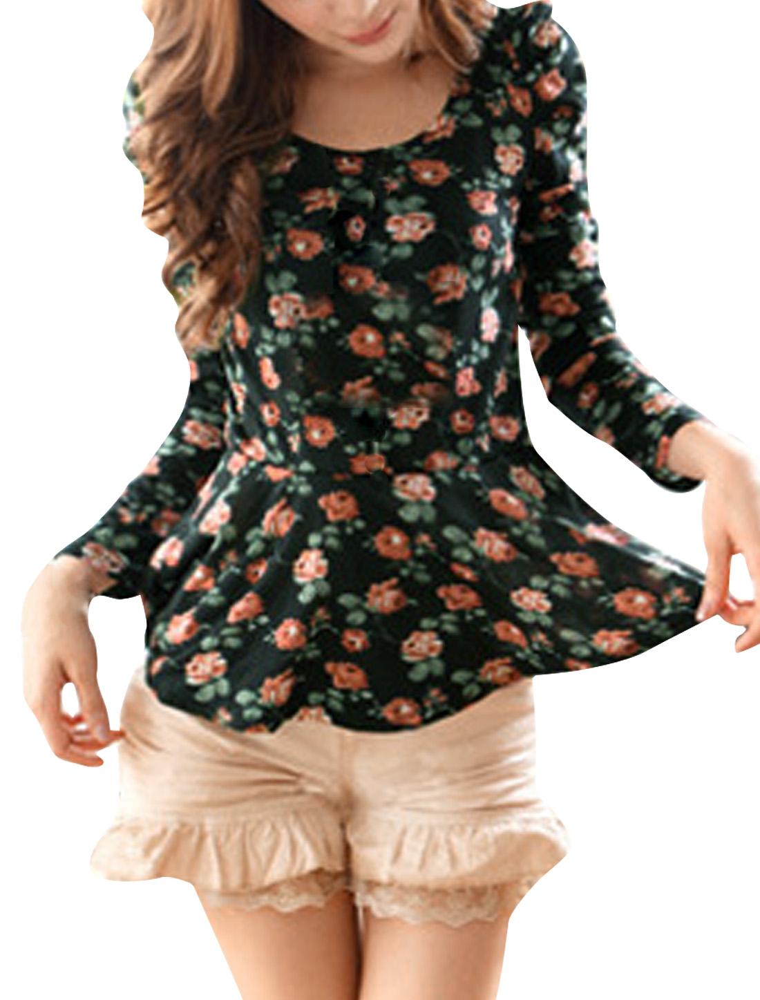 Ladies Scoop Neck Puff Sleeve Floral Prints Pleated Hem Peplum Top Black XS