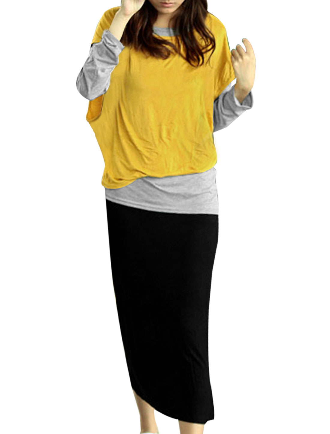 Ladies Long Sleeve Blouse W Batwing Sleeve Smock W A-line Yellow Dress XS