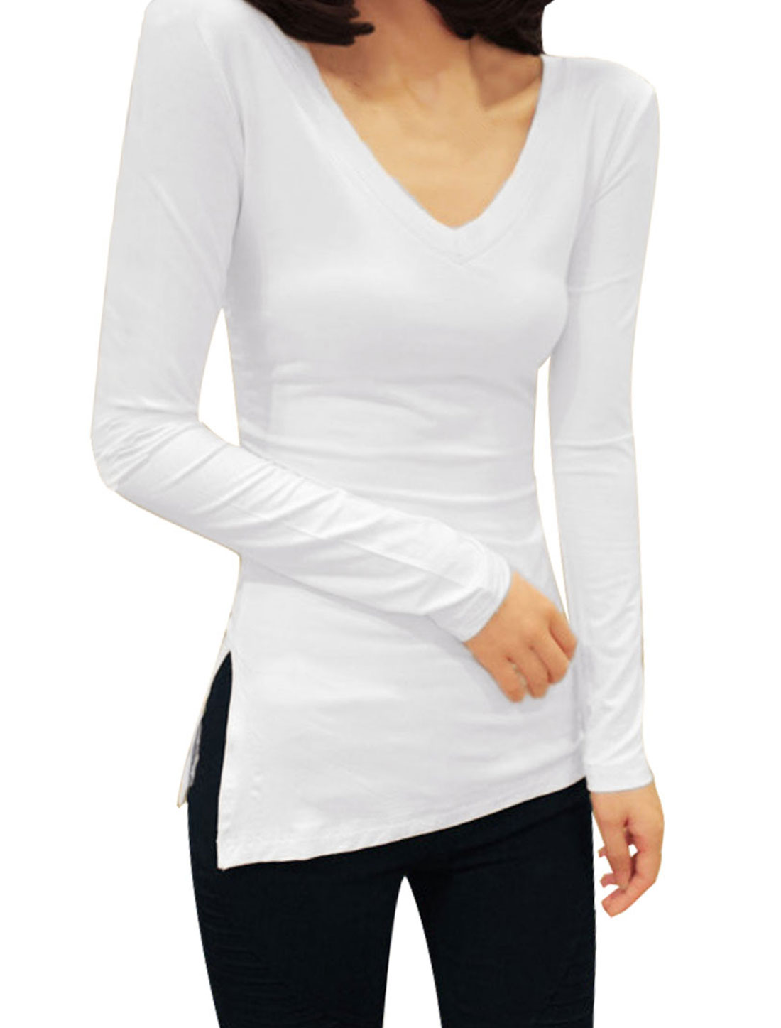 Women White Long Sleeve Pullover Side Split Pure Spring Loose Shirt XS