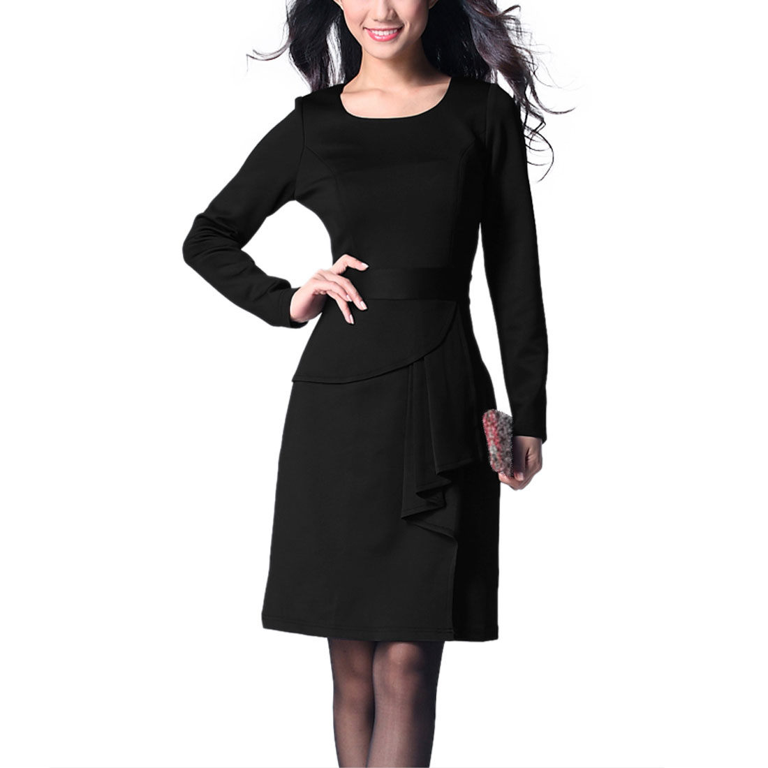 Women Long Sleeves Round Neck Ruffle Decor Dress Black S