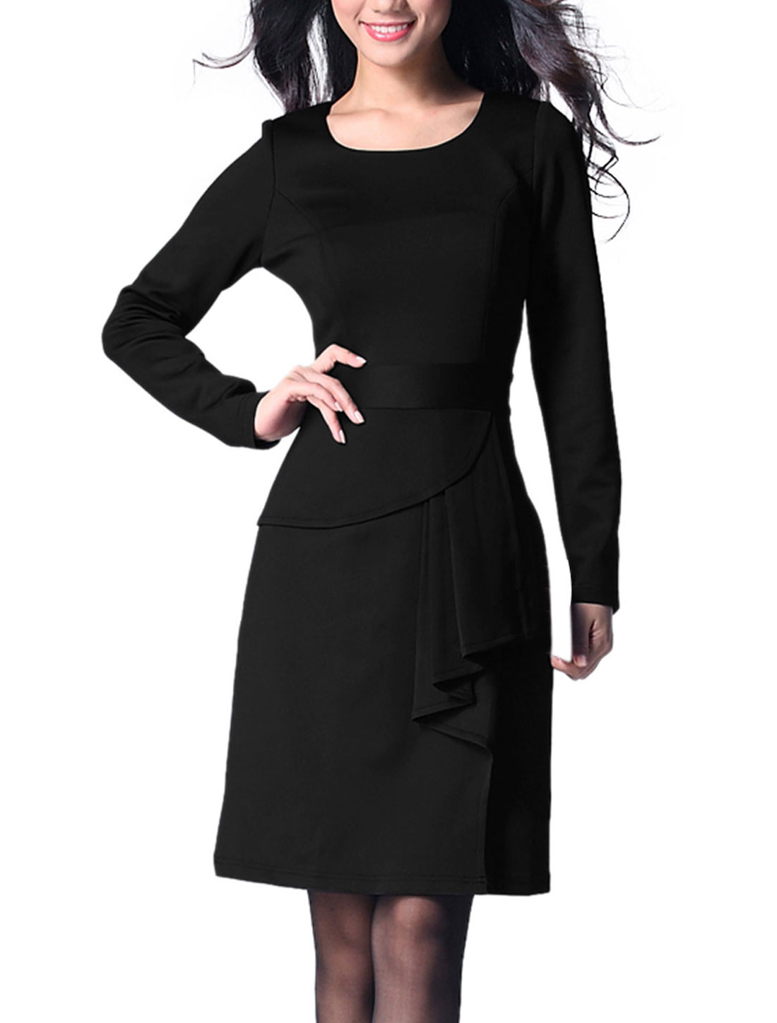 Ladies Black Long Sleeve Side Zipper Elegant Spring Office Dress S
