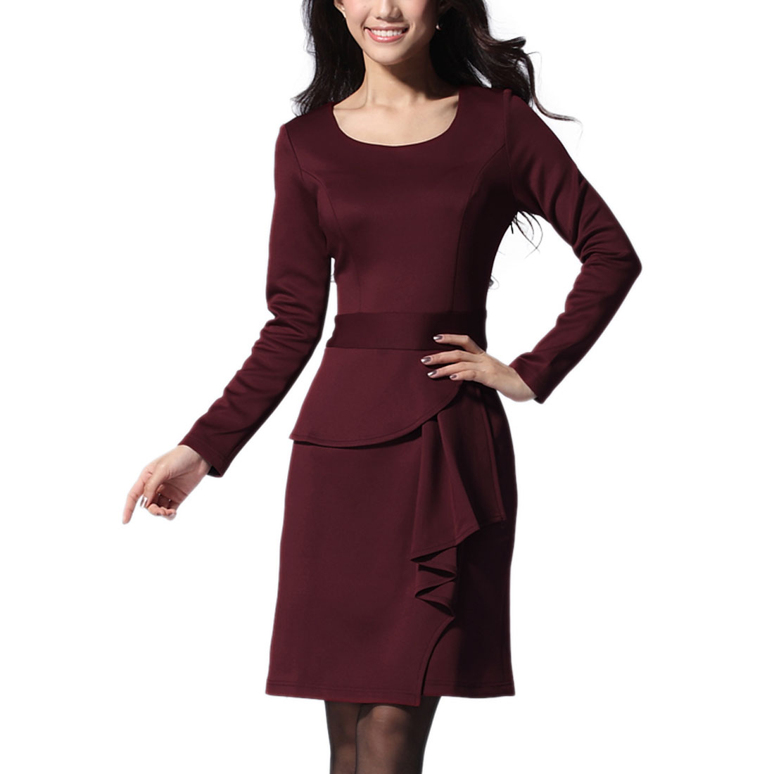 Women Long Sleeves Round Neck Ruffle Decor Dress Red XS