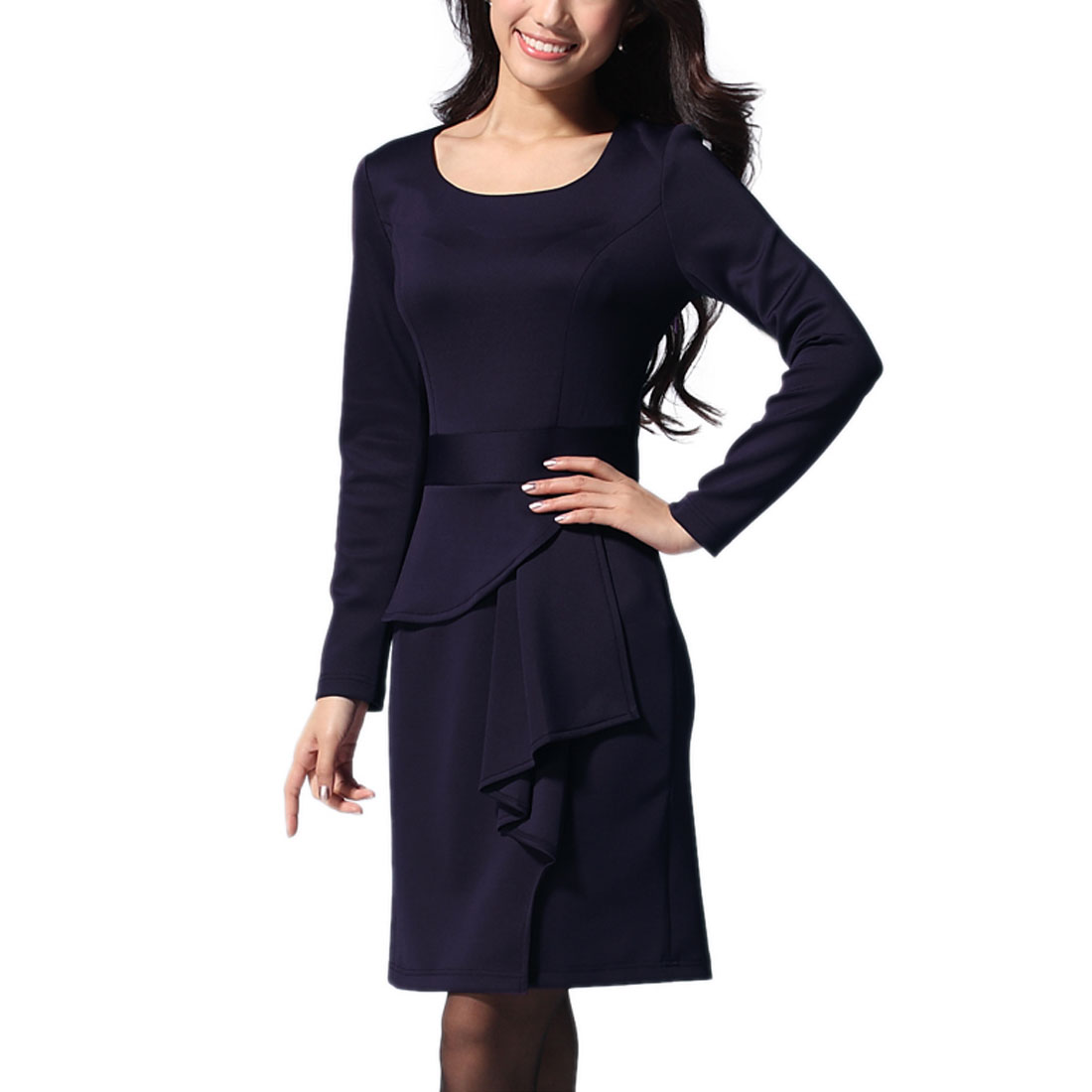 Women Long Sleeves Round Neck Ruffle Decor Dress Purple S