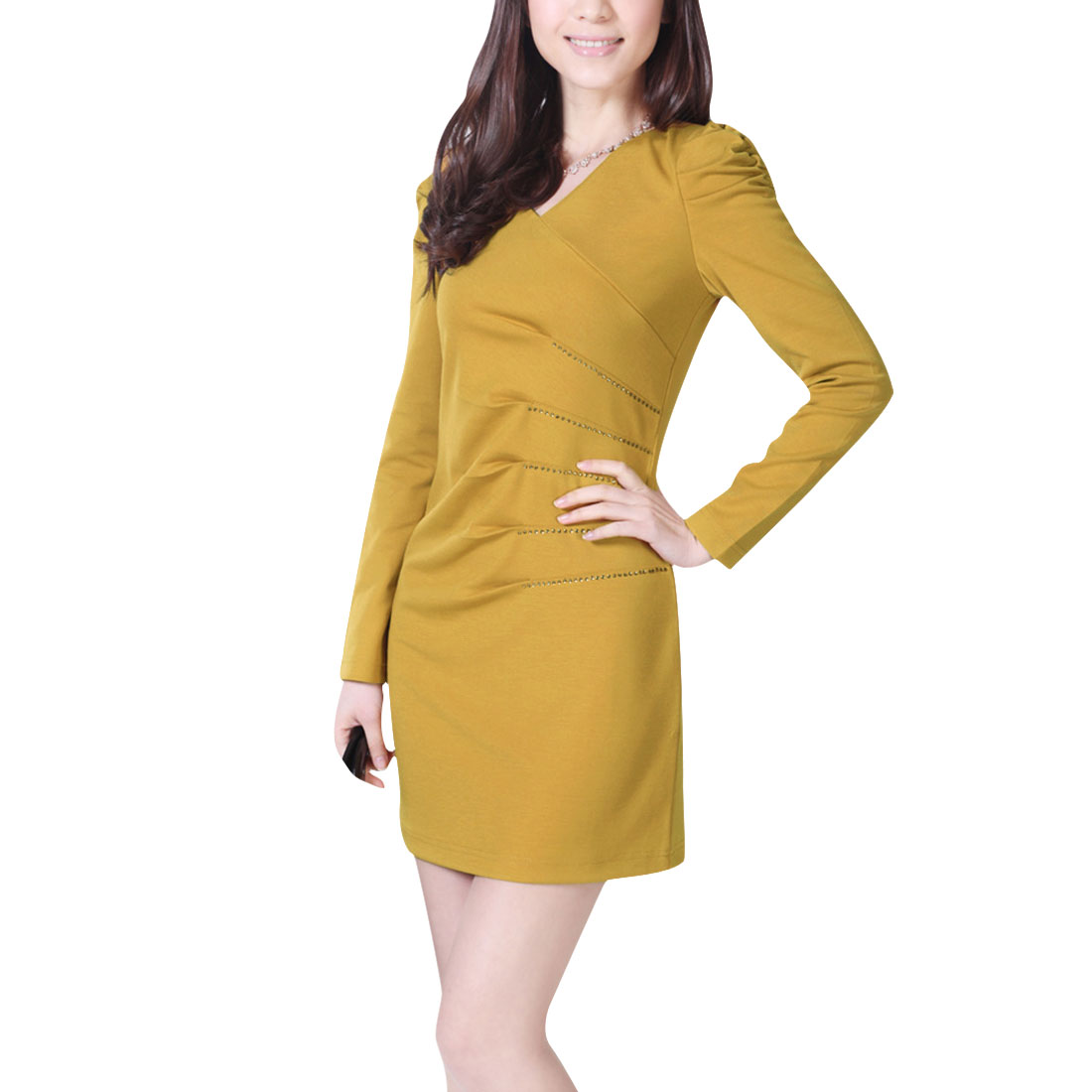 Women Medium Yellow V Neck Elegant Office Solid Color Dress XS