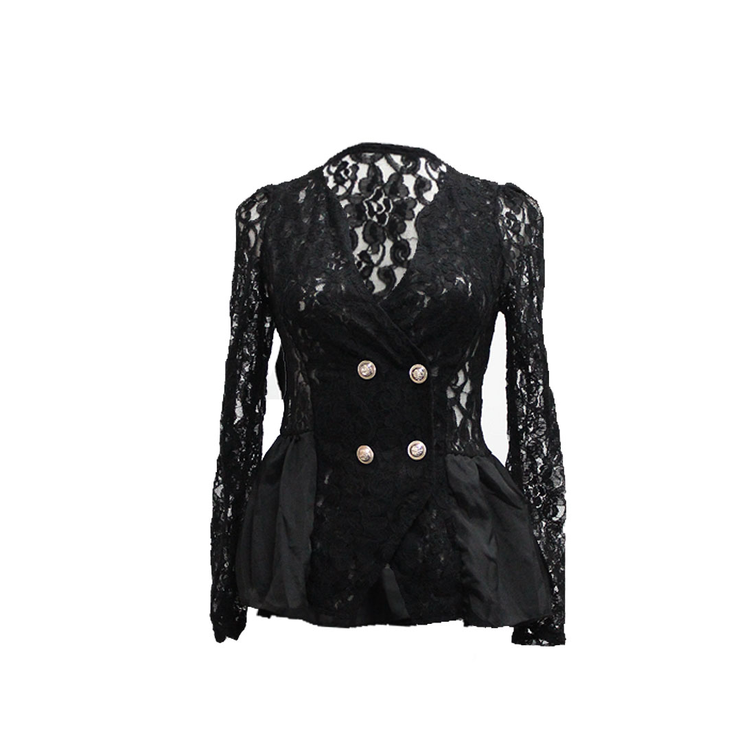 Ladies Long Sleeves Ruffle Hem Double Breasted Lace Blazer Black XS