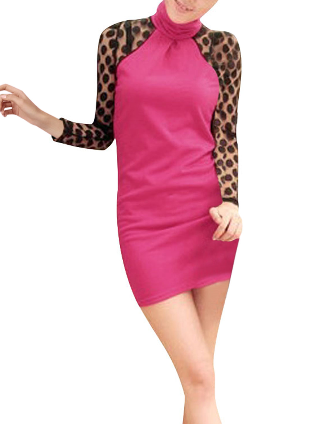 Ladies Shocking Pink Long Sleeves Tuttle Neck Dots Pattern Pullover Dress XS