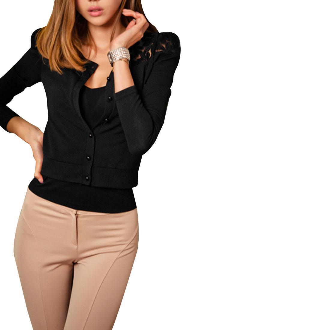 Ladies Black Long Sleeve Flower Embroidery Neck Elegant Spring Coat XS
