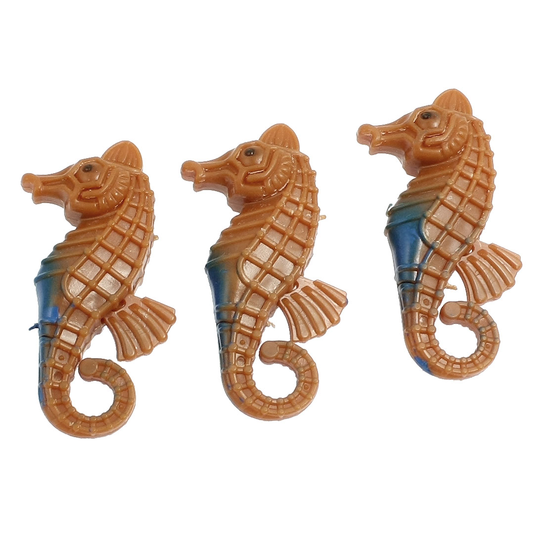 3PCS Plastic Mini Seahorse Brown Ornament for Aquarium