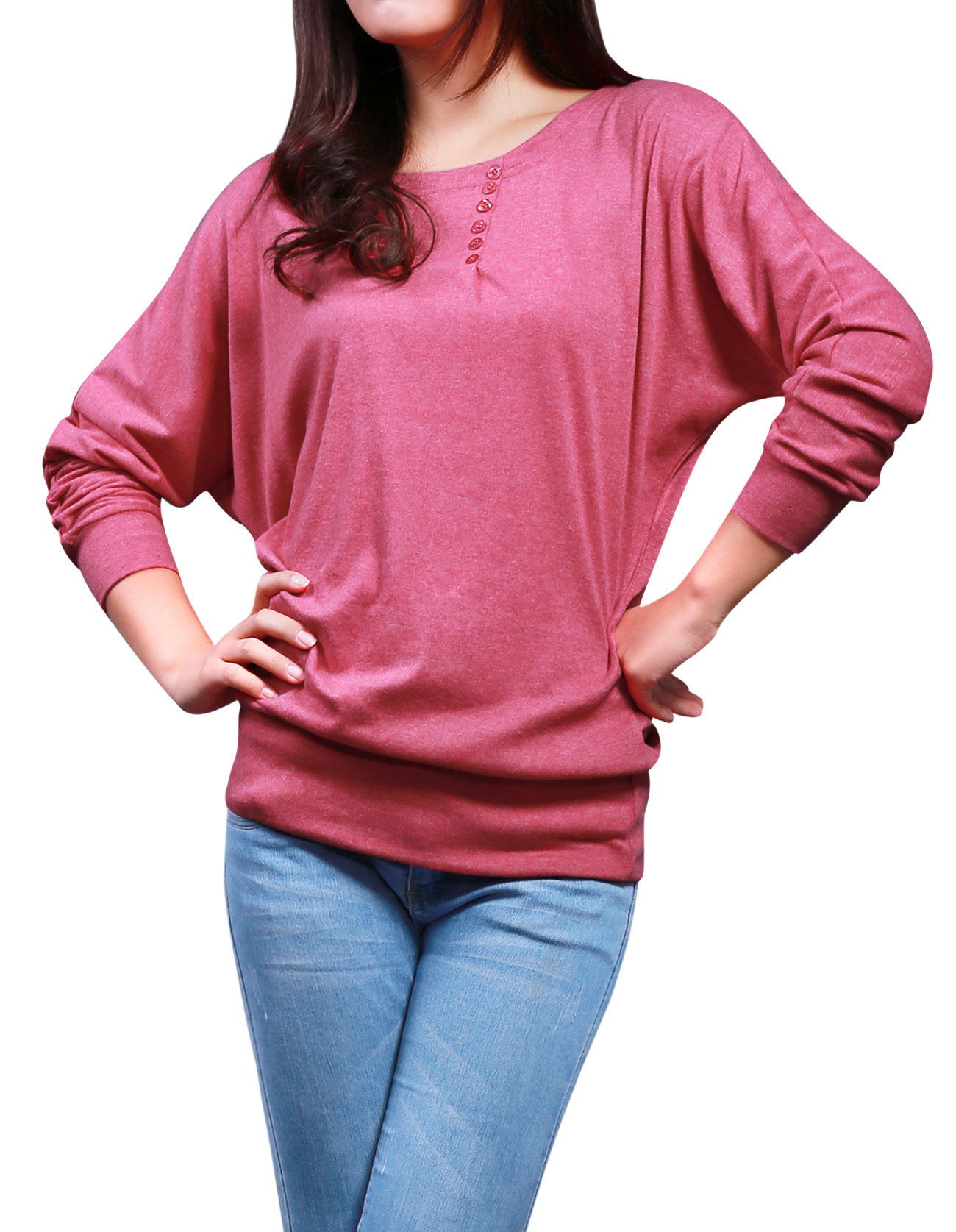 3585 Fuchsia Button Detail Boat Neck Long Sleeve Autumn Shirt S for Women