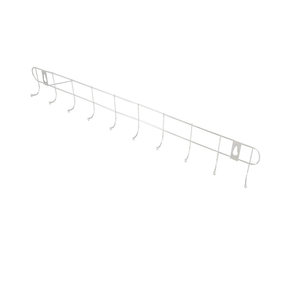 2 Pcs Bathroom Metal 10 Hooks Towel Coat Hanger Wall Rack Silver Tone