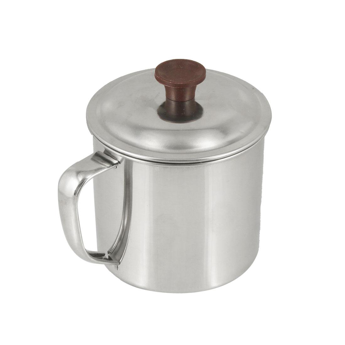 "Silver Tone Stainless Steel 3.7"" Diameter Water Cup Mug w Cap"