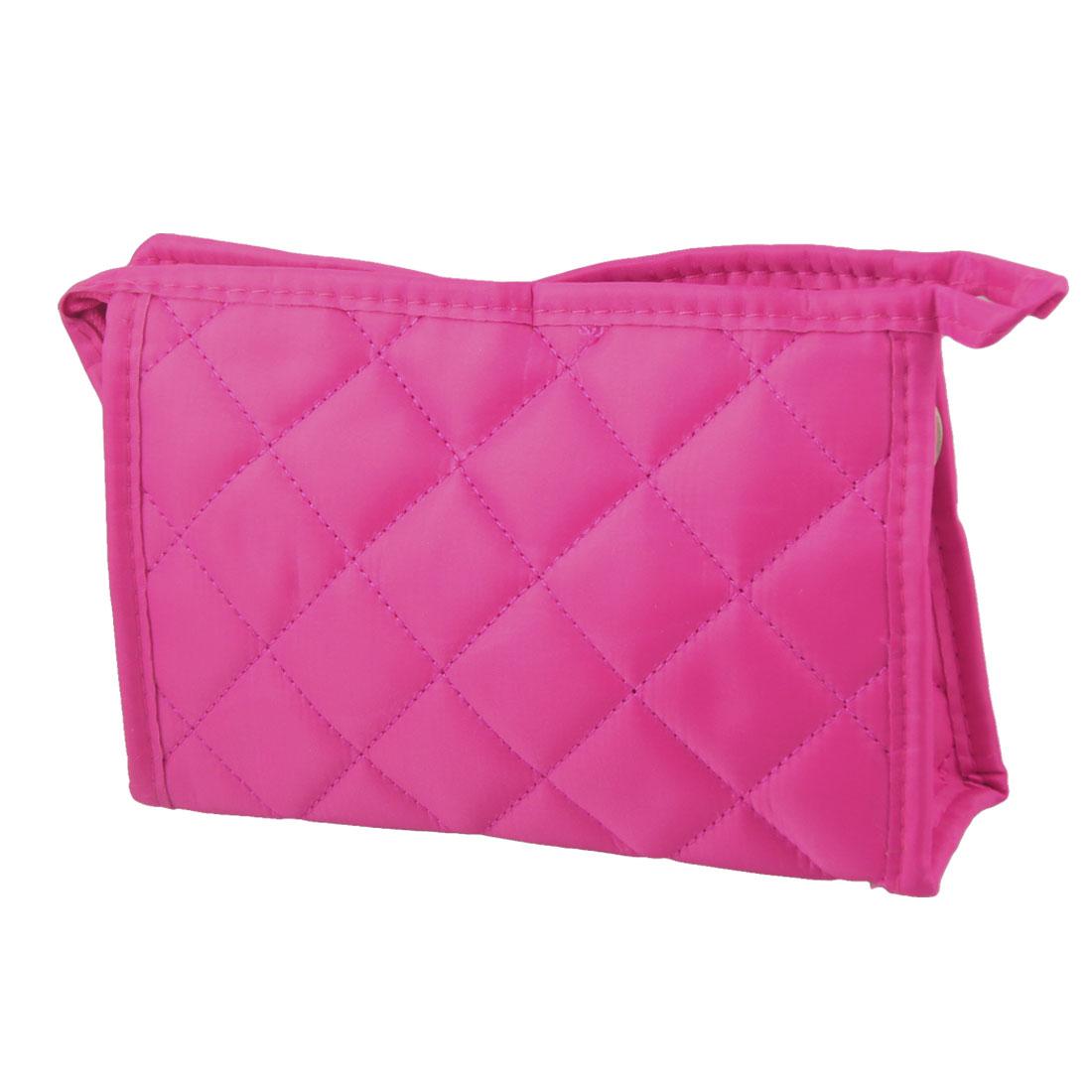 Fuchsia Grid Pattern Rectangle Shape Makeup Zippered Bag for Women