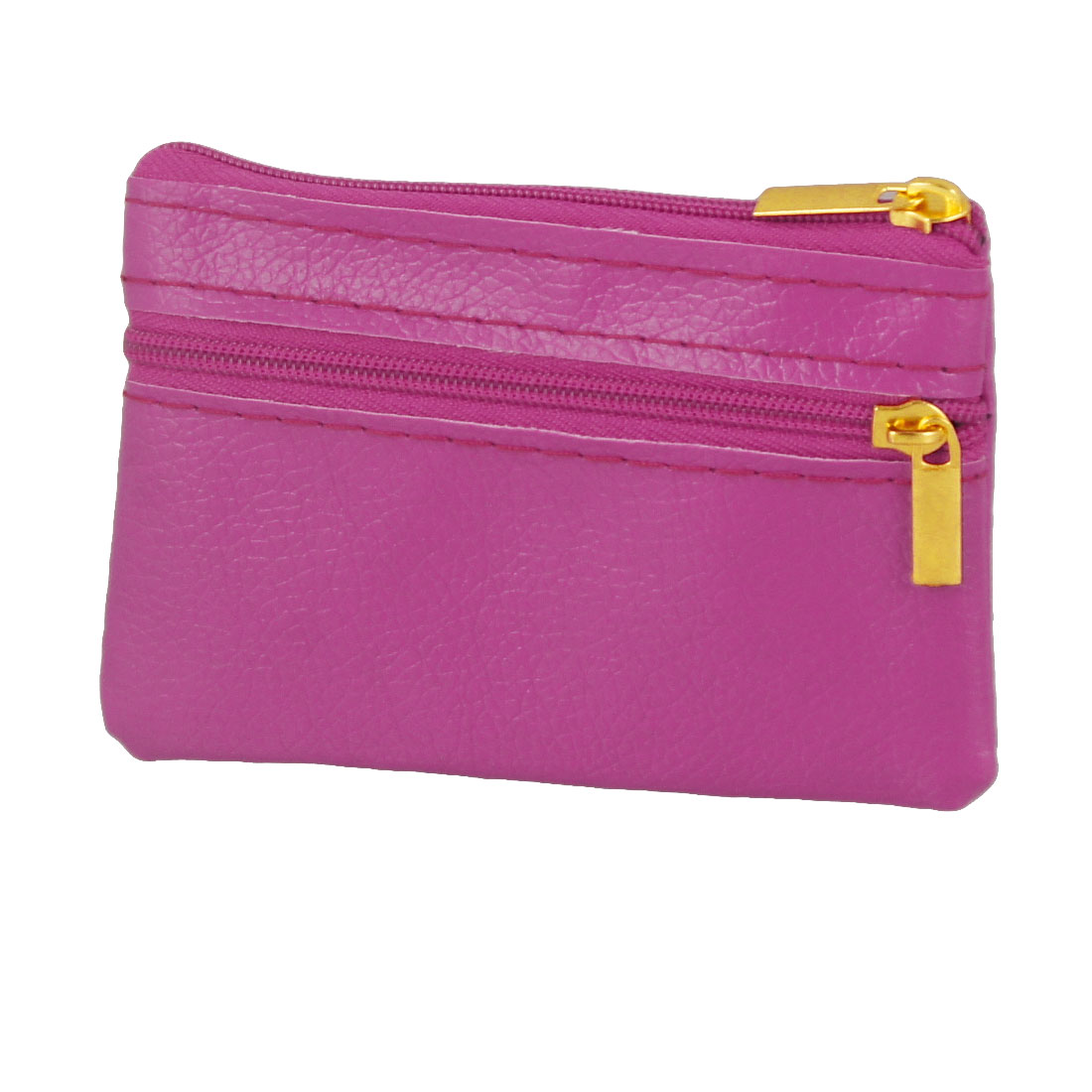 Ladies 2 Compartments Zippered Fuchsia Faux Leather Coin Purses