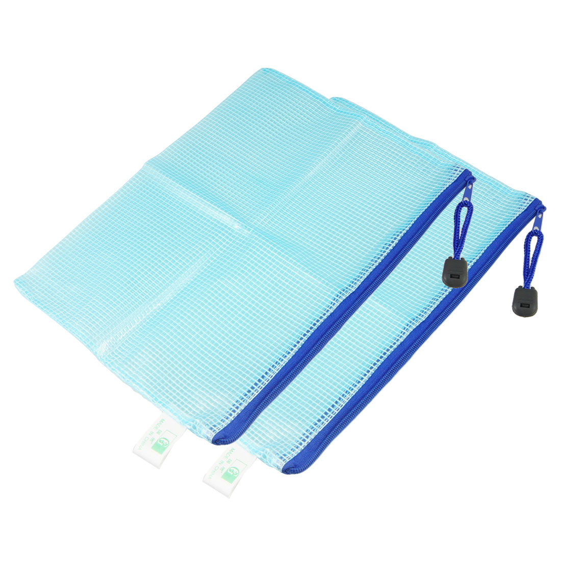 2 Pcs Blue Plastic Pen File A5 Document Bags Zip up Folders Pockets