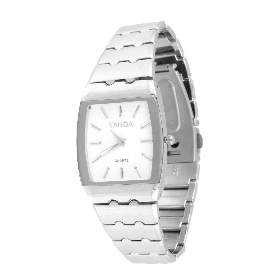 Stainless Steel Band White Rectangular Dial Wrist Watch for Men