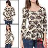 Women 3/4 Sleeve Scoop Neck Slim Fitting Flower Pattern Beige Shirt XS