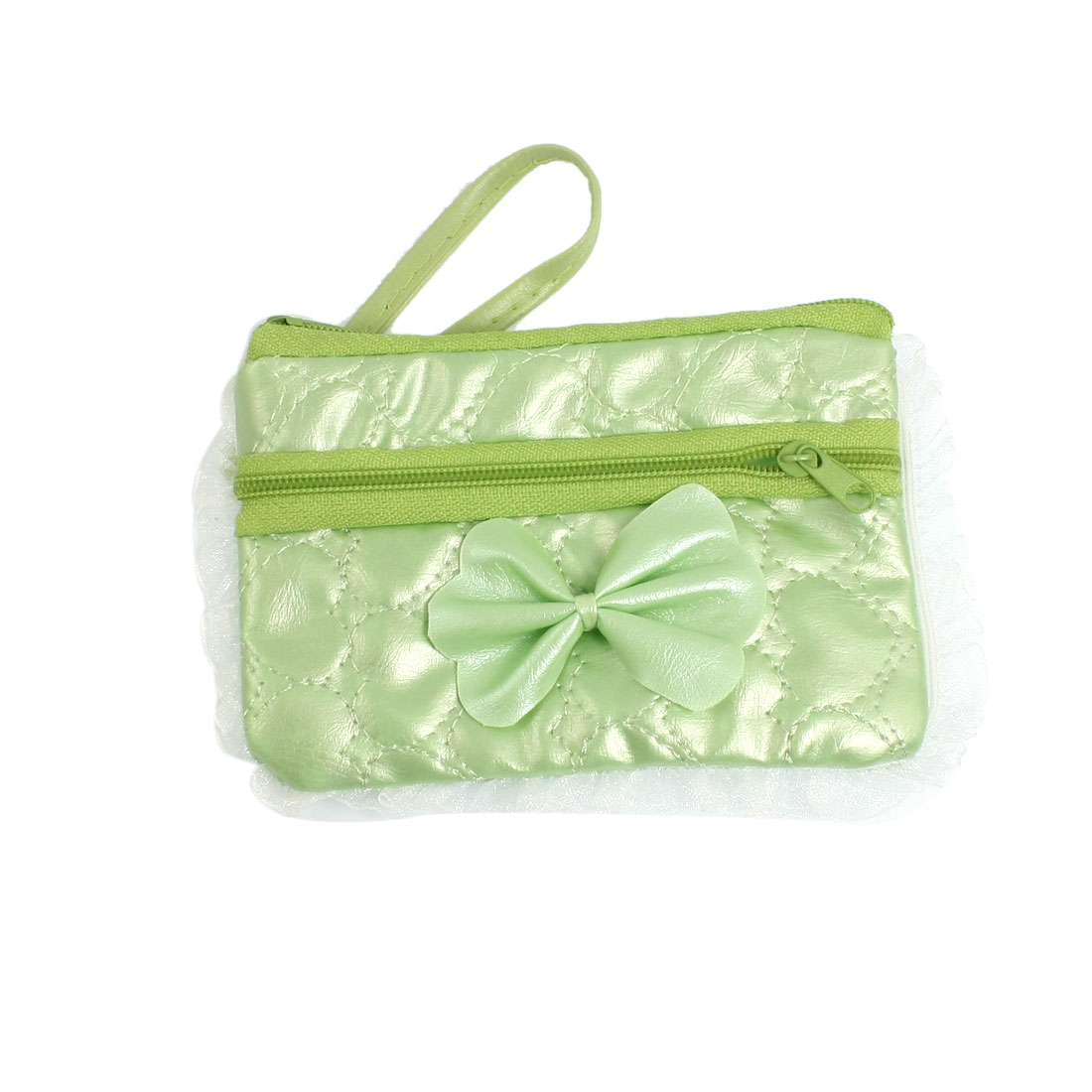 Green Embossed Heart Pattern Zipper Phone MP3 Purse Bag Holder w Hand Strap
