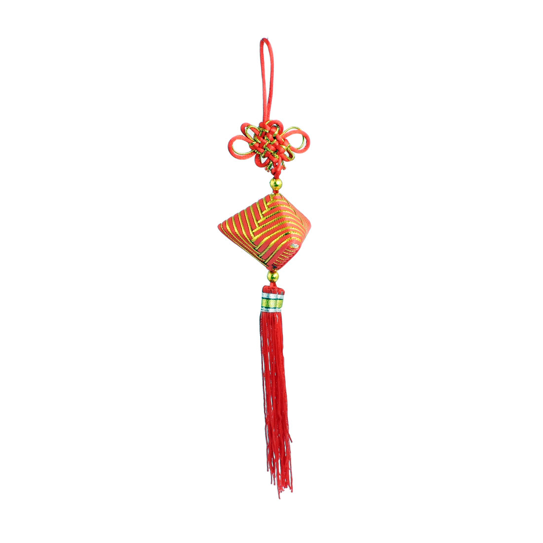 Home Auto Car Chinese Knot Hanging Decoration Ornament Gold Tone Red