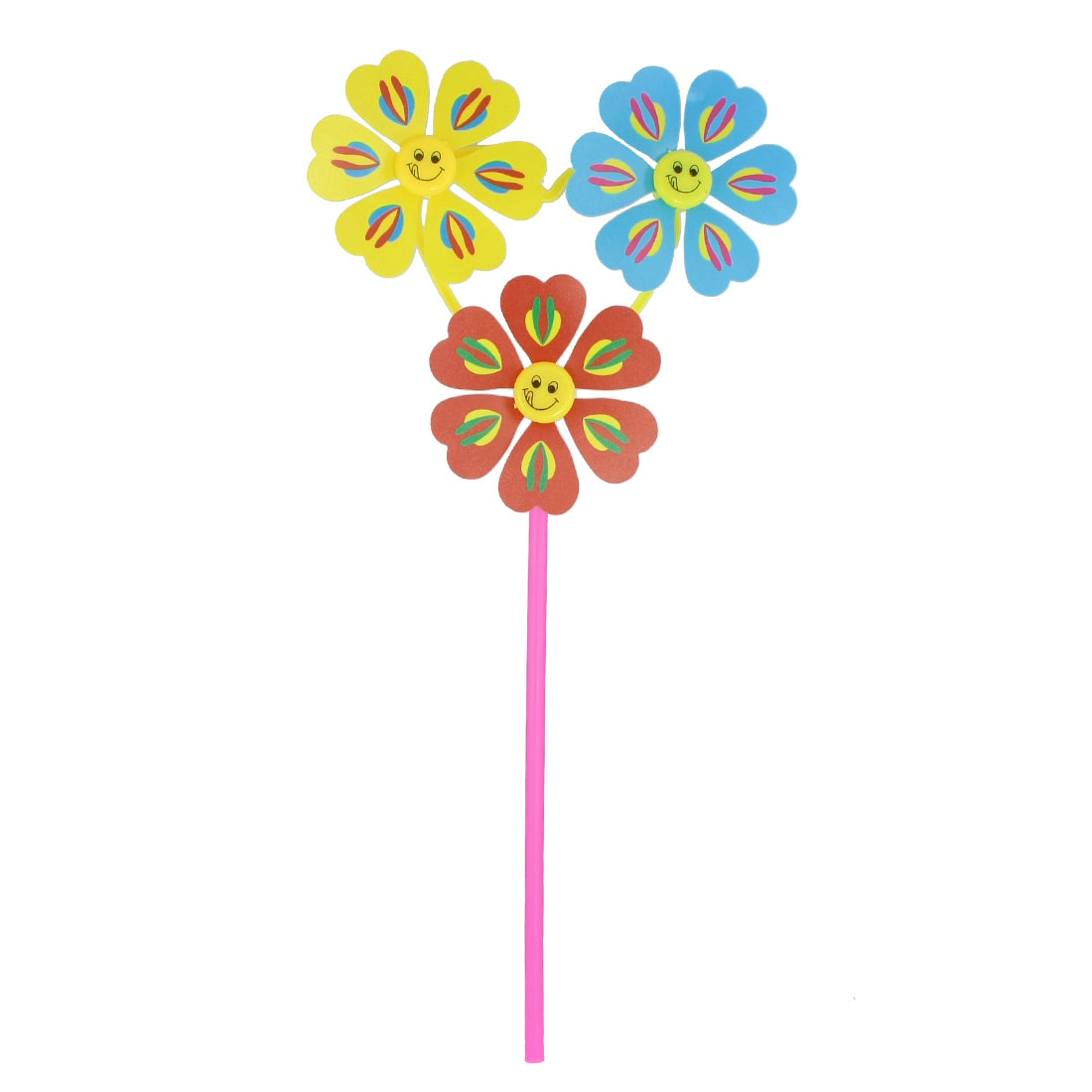 Kids Smile Face Pattern 3 Heads Flower Design Rotating Plastic Windmill Toy