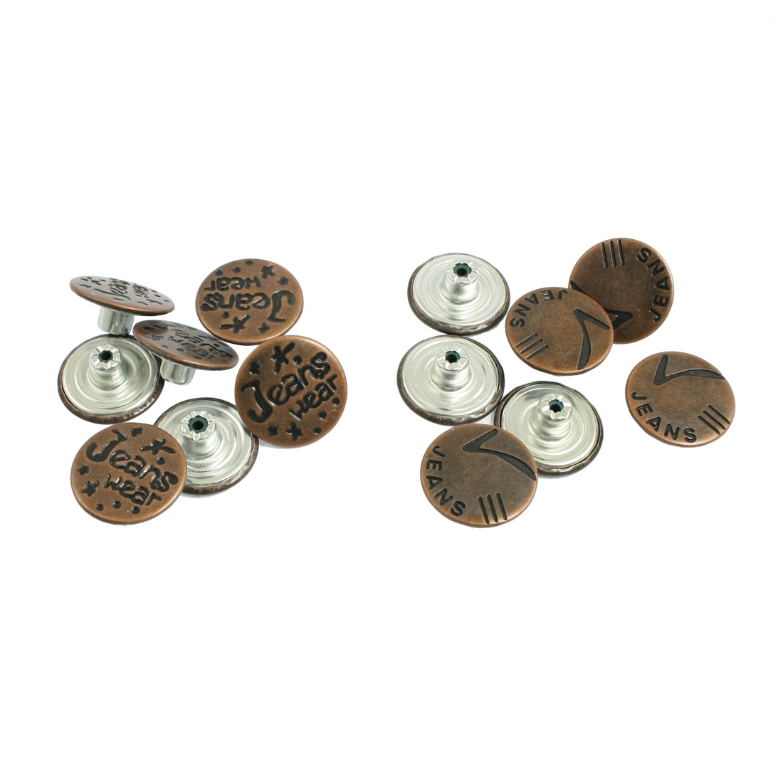 14 Pcs Denim Jacket Jeans Metal Tack Buttons Replacement Copper Tone