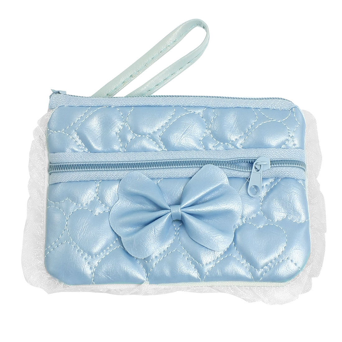 Sponge Lining Embossed Heart Print Blue Faux Leather Phone Purse Bag Holder