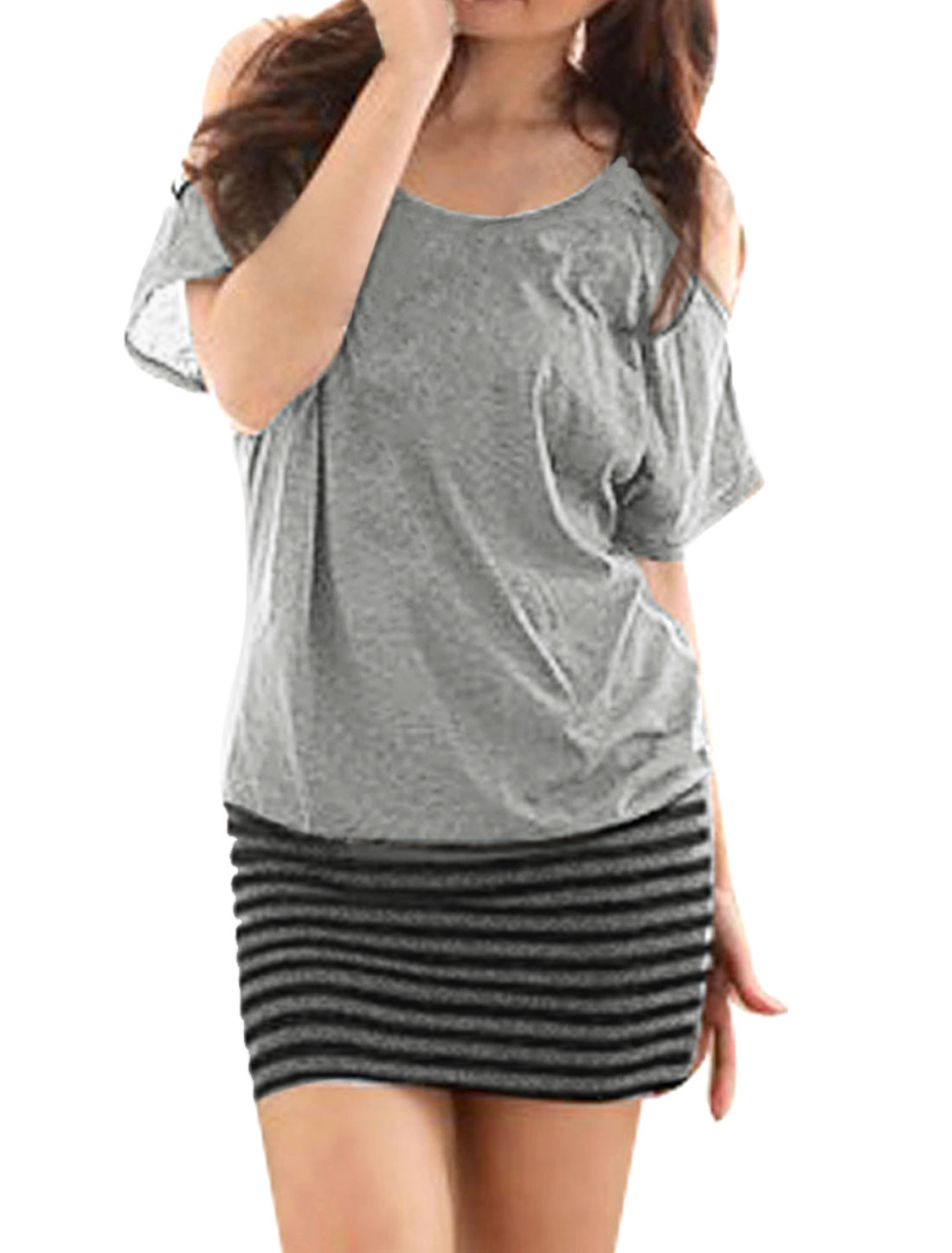 Woman Cutout Shoulder Batwing Sleeve Stripe Hem Dress Gray M