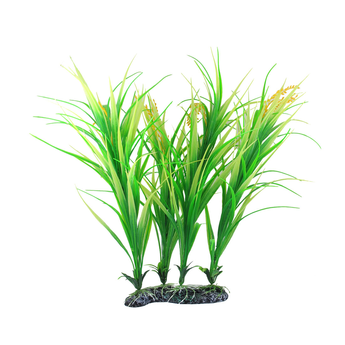 "18.9"" Height Green Yellow Manmade Aquarium Plastic Plant for Fish Tank"