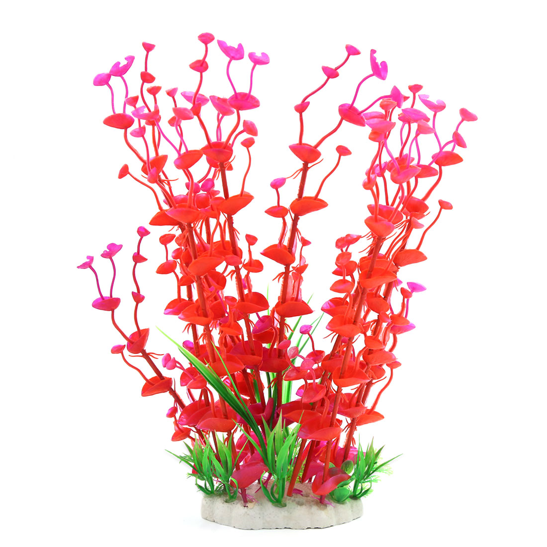 "14.2"" Height Red Green Manmade Aquarium Plastic Plant for Fish Tank"