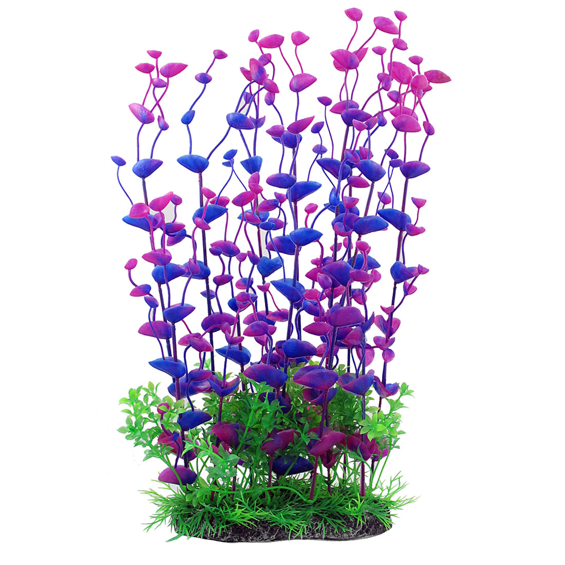 "14.2"" Height Purple Green Manmade Aquarium Plastic Plant for Fish Tank"