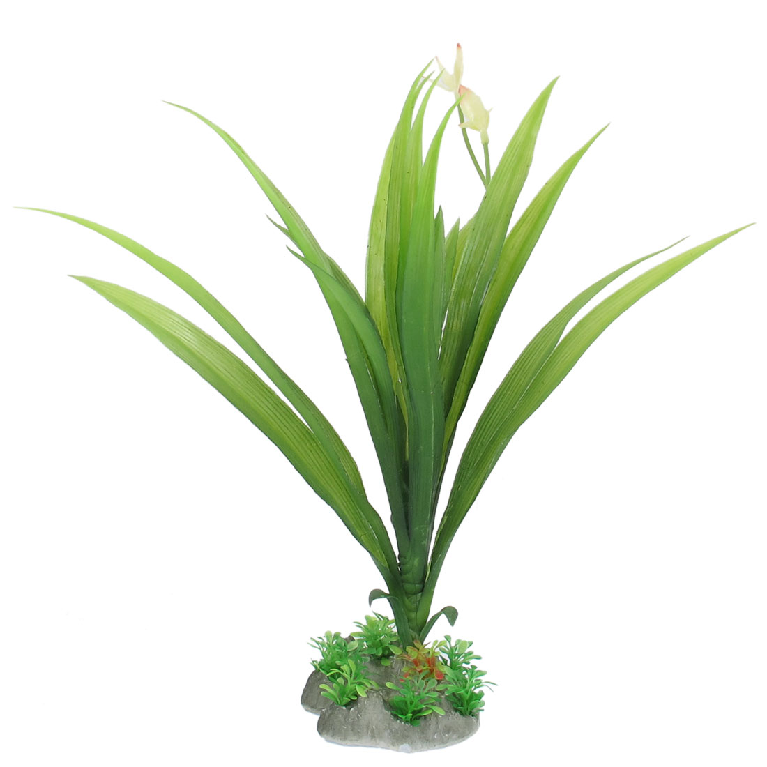 "13"" Height Green Artificial Aquarium Plastic Flowering Plant for Fish Tank"