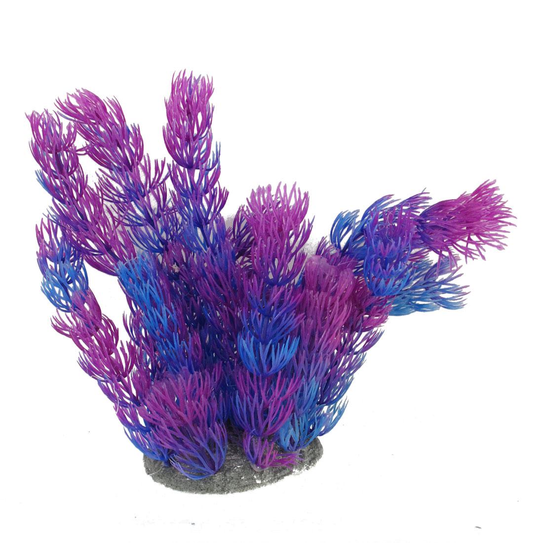 "6.3"" Height Purple Blue Artificial Aquarium Plastic Plant for Fish Tank"