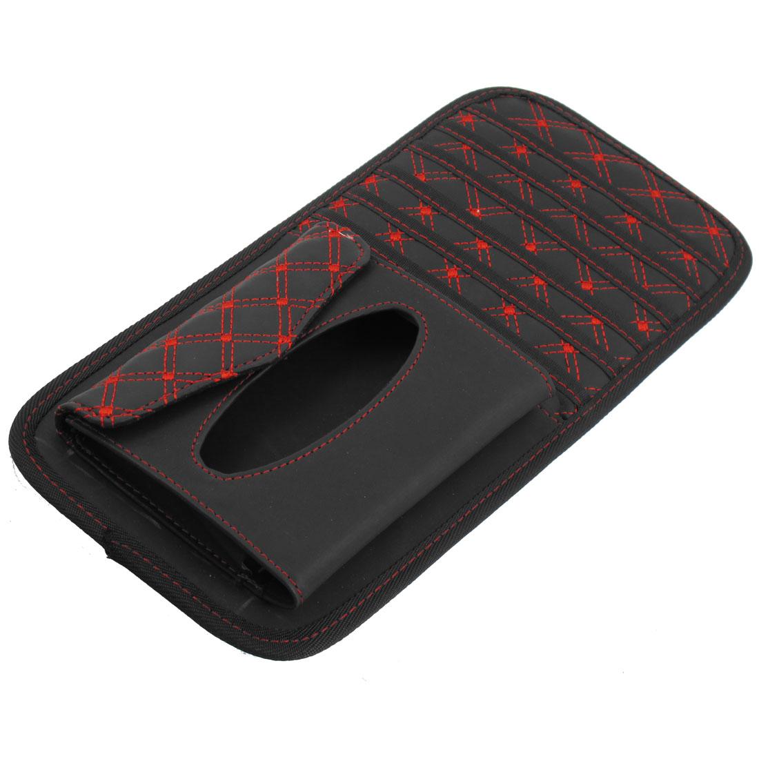 Black Car Visor CD DVD Disk Card Case Bag 6 Disks Holder w Napkin Case