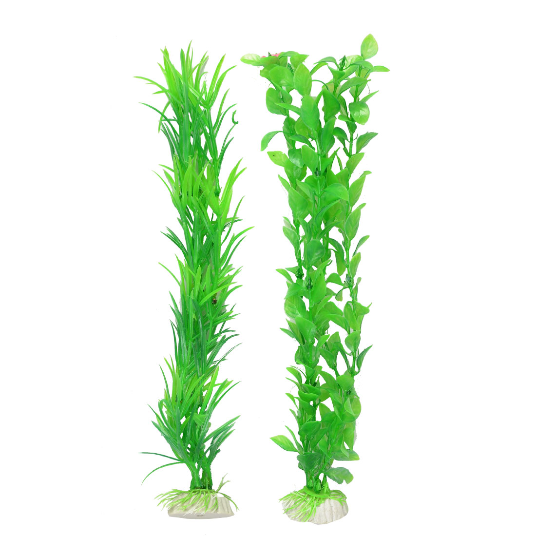 2 Pcs Green Ovate Leaf Flower Decorated Aquascape Simulation Plant Decor
