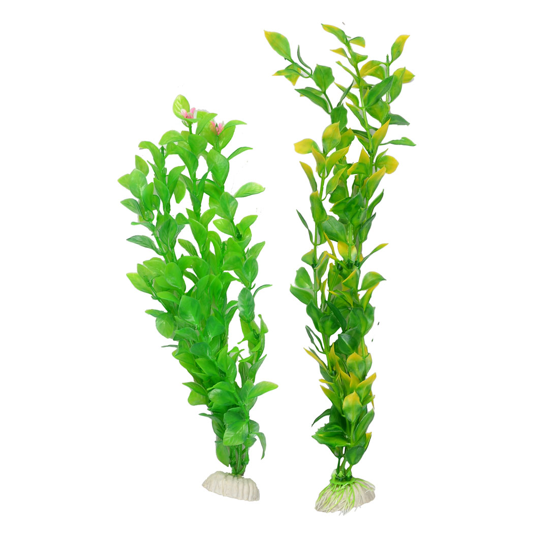 2 Pcs Oval Shaped Leaf Flower Embellished Aquarium Plastic Plant Ornament