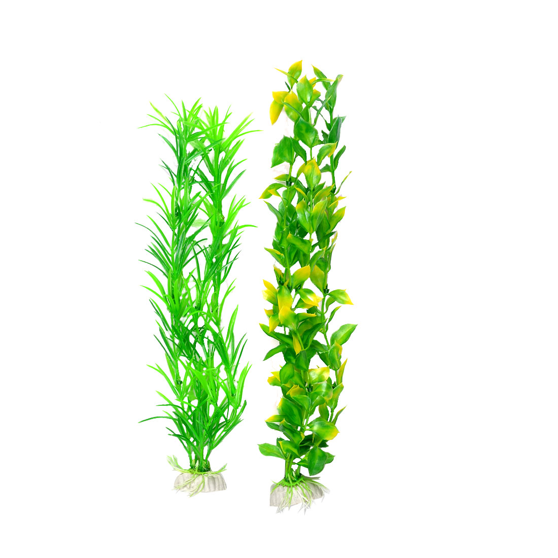 2 Pcs Green Yellow Ovate Leaves Fish Tank Decorative Plastic Water Plant