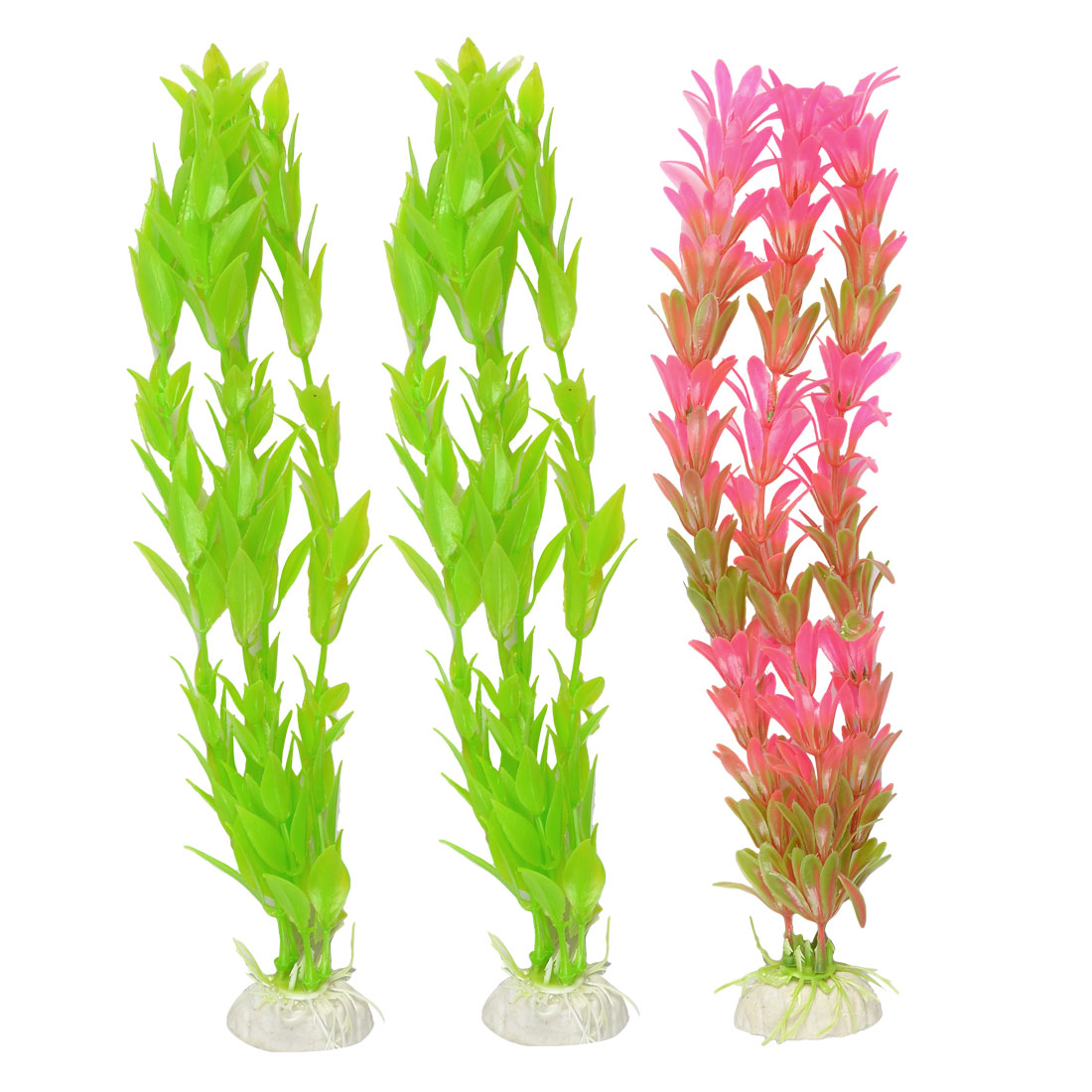 "3 Pcs Fuchsia Green Leaf Aquascaping Artificial Aquatic Grass 10.2"" High"