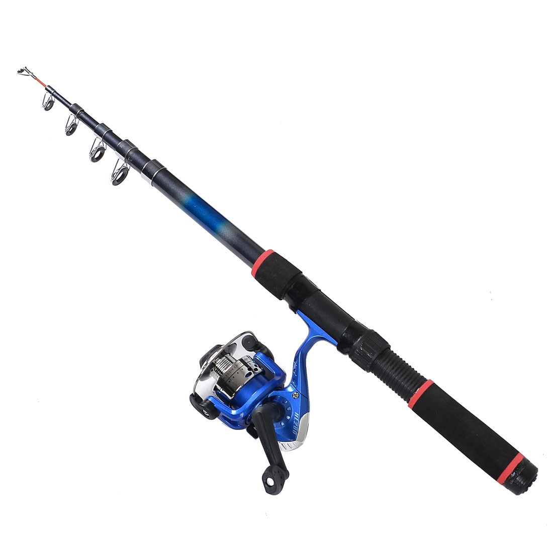 Blue Gray Telescopic 6 Sections Angling Fishing Rod 2.05M w Spinning Reel