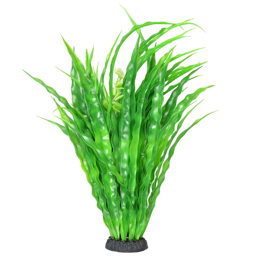 "15.7"" High Linear Leaf Flower Adorned Fish Tank Decorative Plastic Plant"