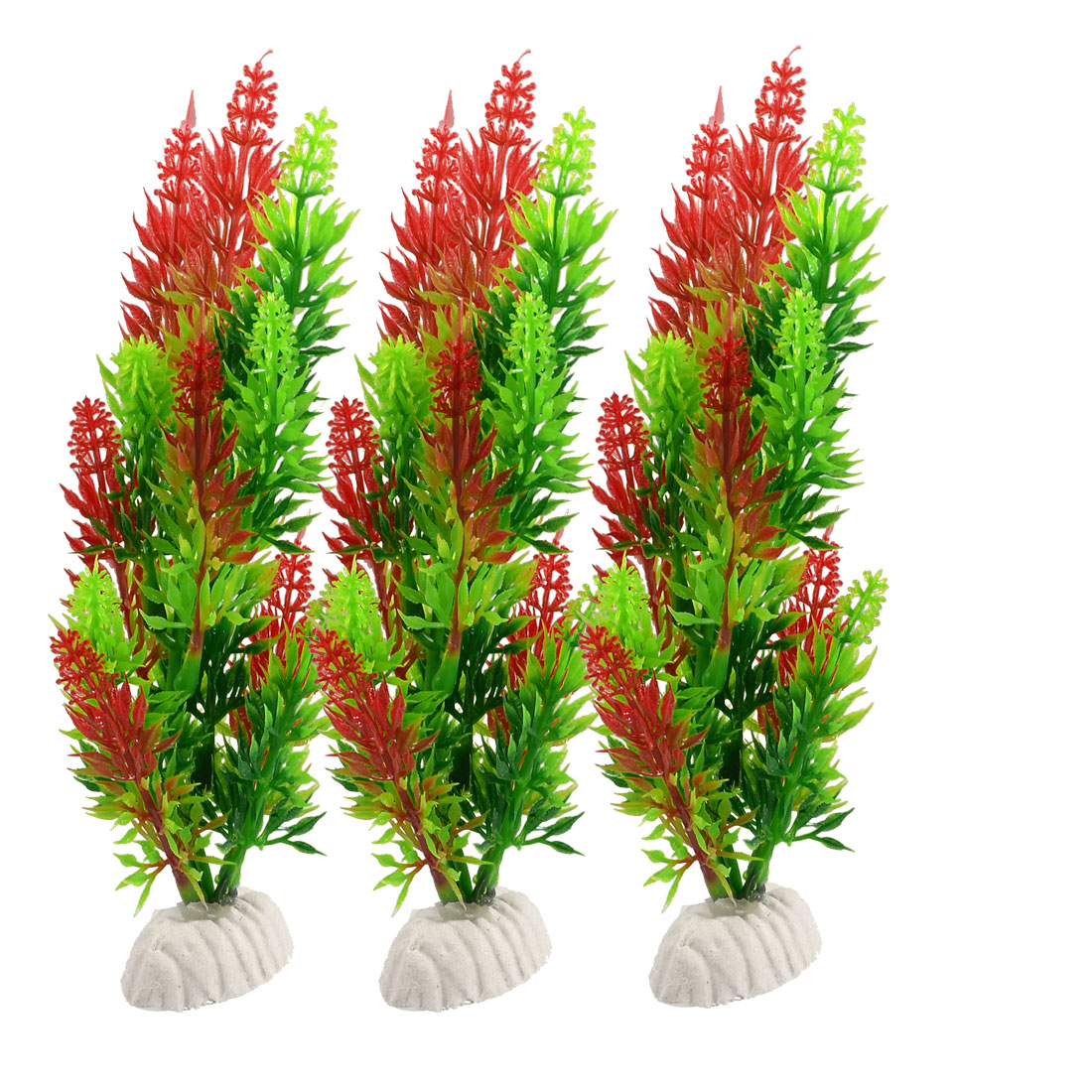 "6.7"" Height Red Green Plastic Leaves Simulation Grass Decor 3 Pcs"