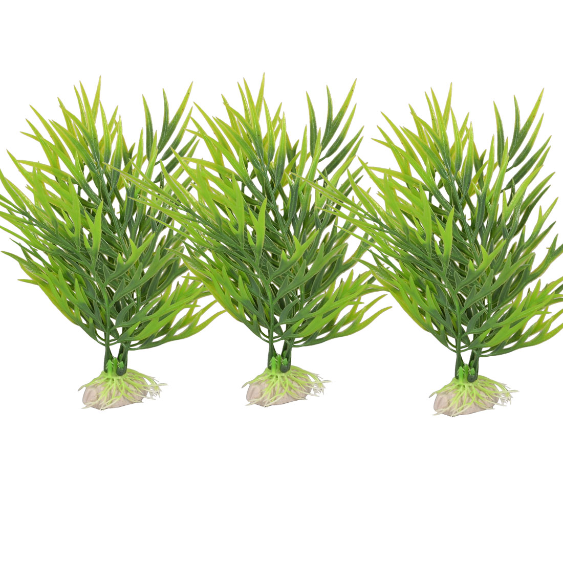 "6.7"" Height Green Narrow Leaves Fish Tank Artificial Grass Decor 3 Pcs"