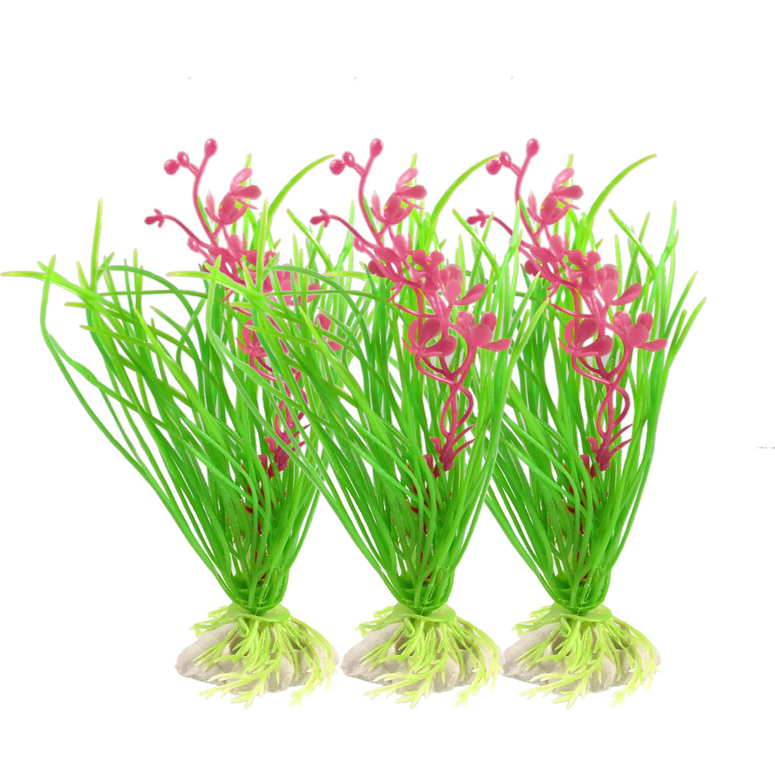 "3 Pcs Green Leaf Red Flower Artificial Plastic Aquatic Grass 4.7"" High"
