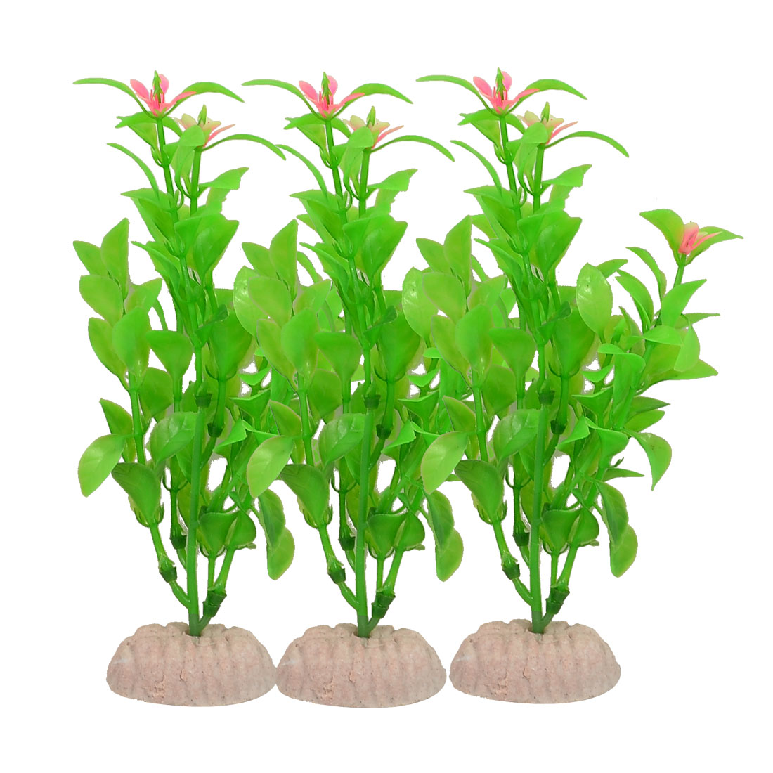 "3 Pcs 5.1"" High Green Leaves Pink Flower Detail Simulation Plant Decor"