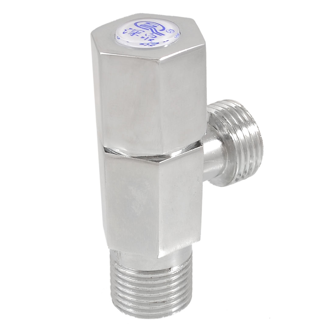 Kitchen Chrome Plated Male Thread Hex Knob Water Control Angle Valve