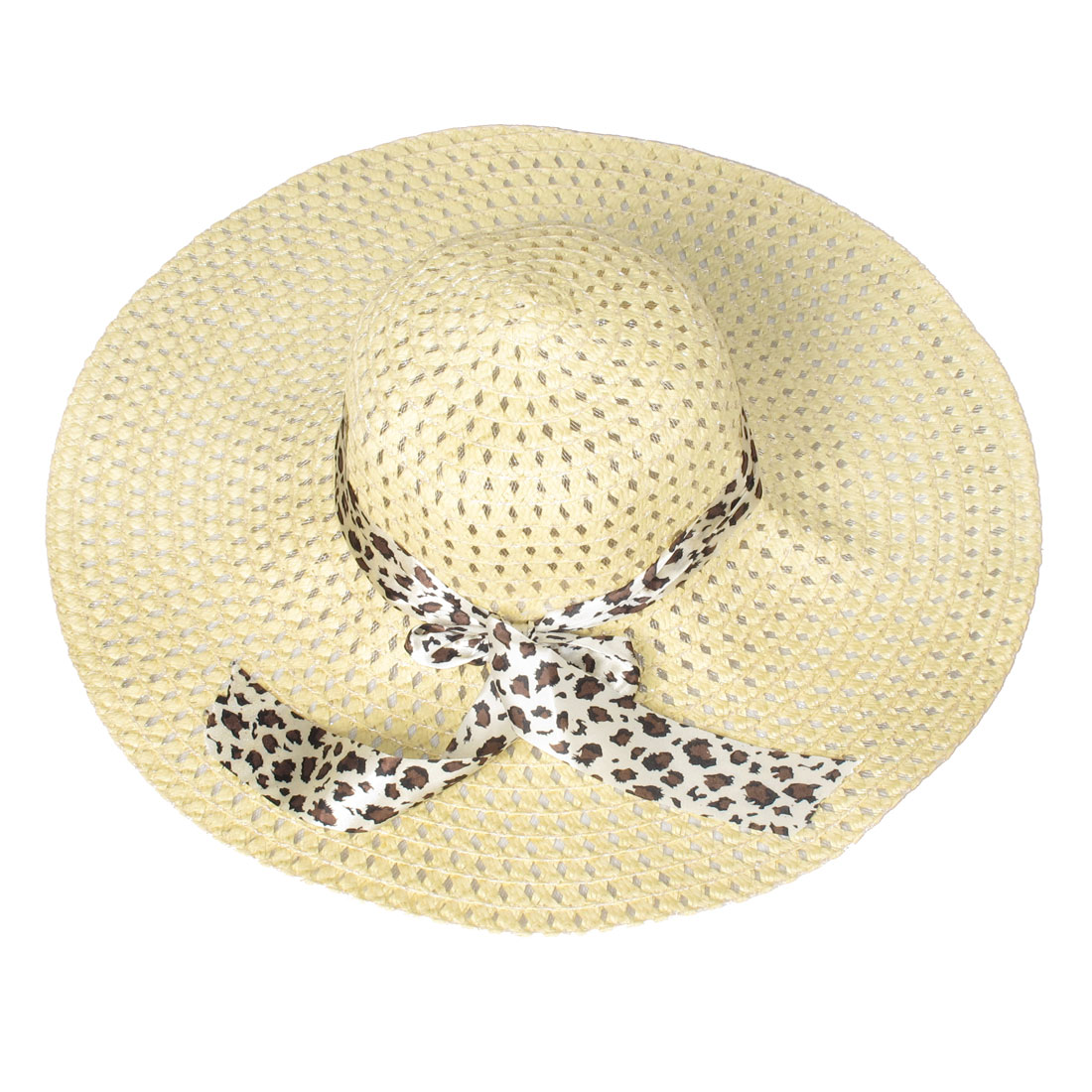 Light Beige Wide Braided Leopard Printed Bowknot Decor Hat for Ladies