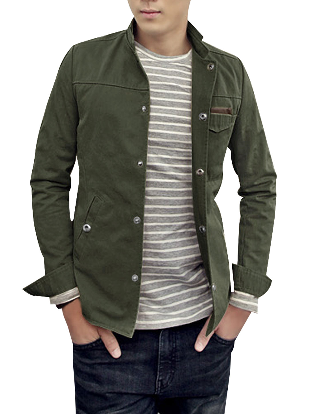 Mens Army Green Trendy Long Sleeve Button Closure Patch Pockets Jacket S