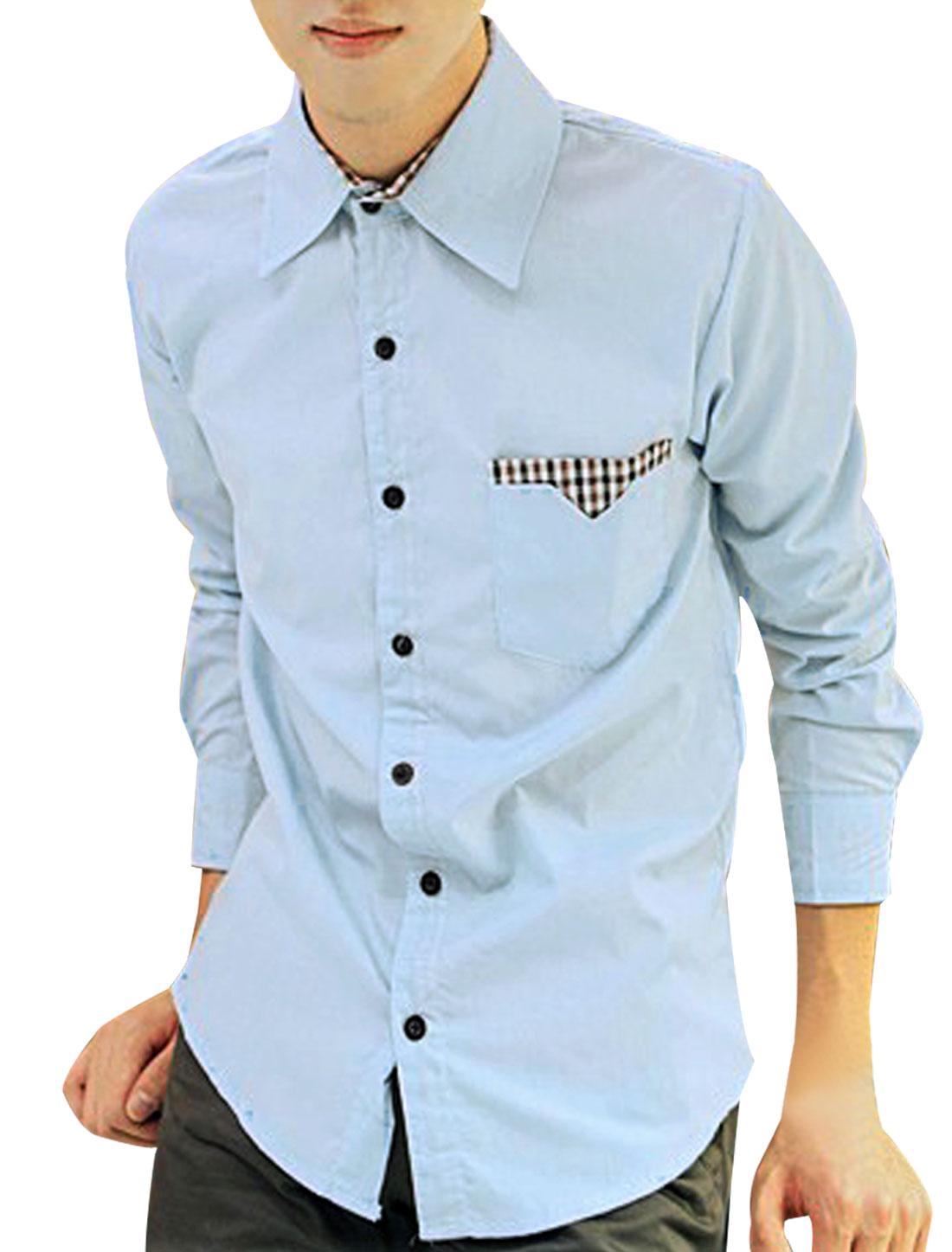 Men Light Blue French Cuff Long Sleeve Button Down Checked Detail Round Hem Shirt M
